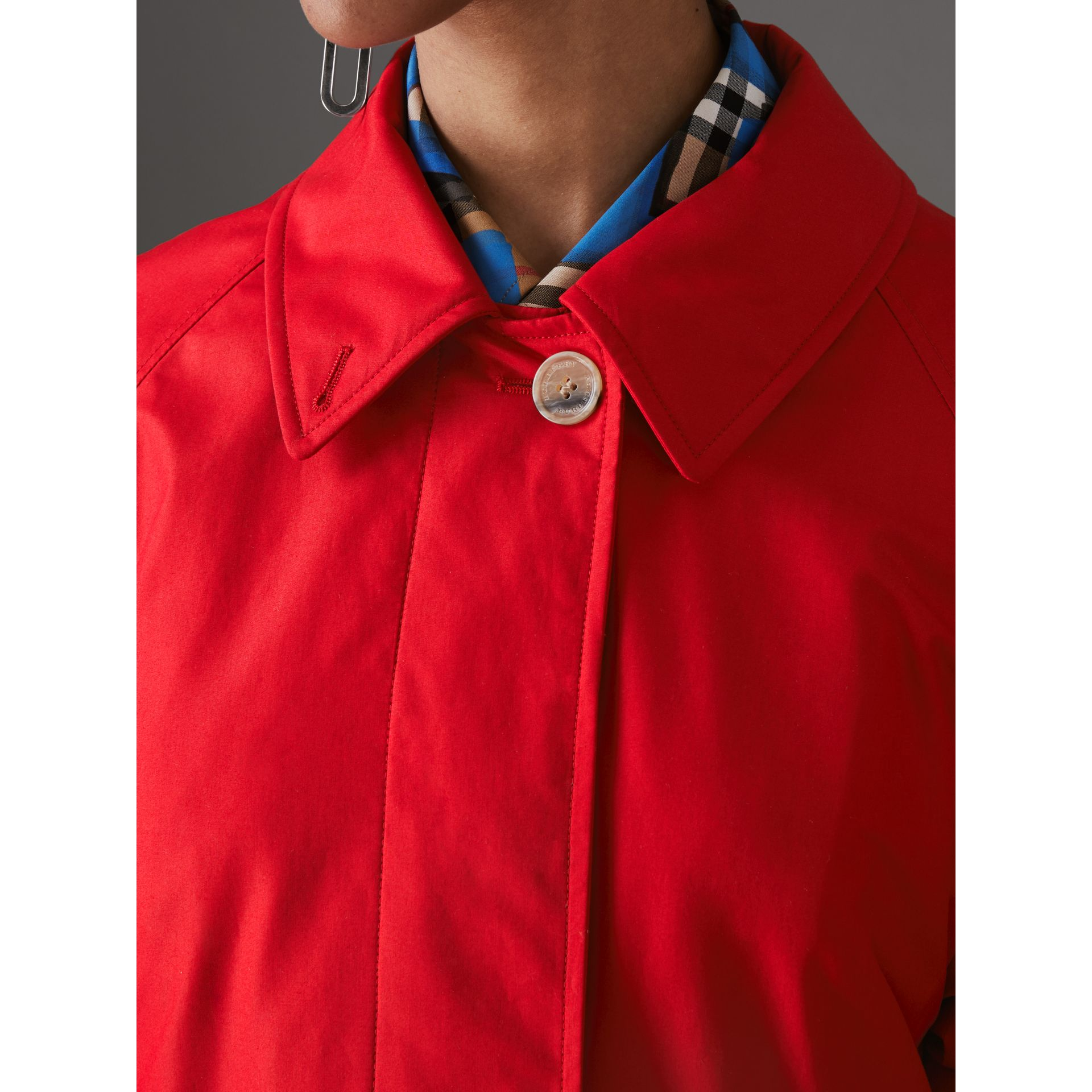 Oversized Cotton Car Coat in Parade Red - Women | Burberry - gallery image 1