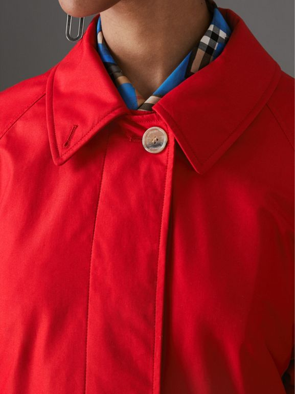 Oversized Cotton Car Coat in Parade Red - Women | Burberry United Kingdom - cell image 1
