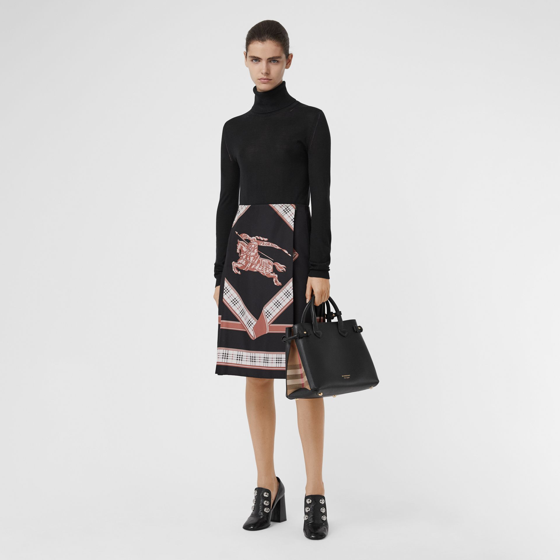 Sac The Banner moyen en cuir et coton House check (Noir) - Femme | Burberry - photo de la galerie 2