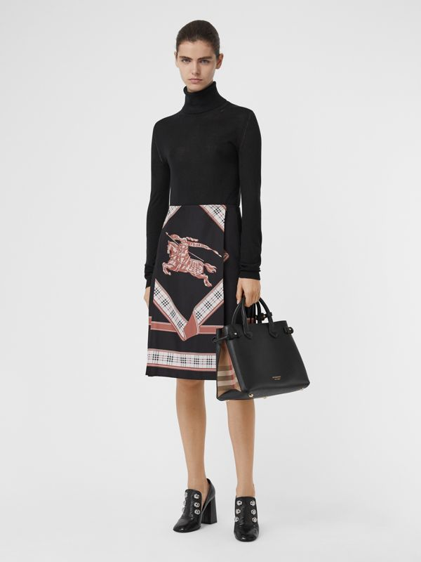 Sac The Banner moyen en cuir et coton House check (Noir) - Femme | Burberry - cell image 2