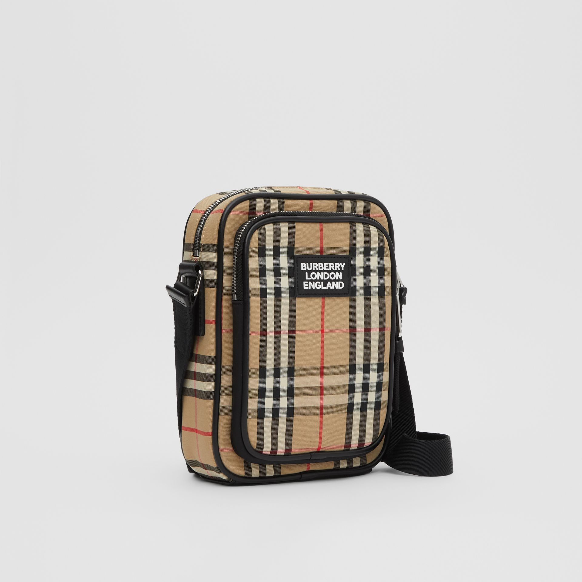 Vintage Check and Leather Crossbody Bag in Archive Beige - Men | Burberry Hong Kong S.A.R - gallery image 6