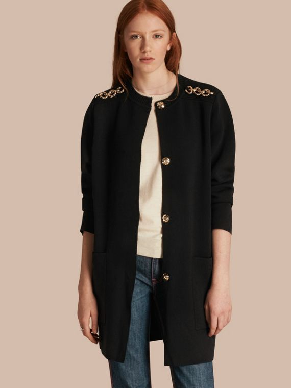Chain Detail Wool Cashmere Blend Knitted Coat
