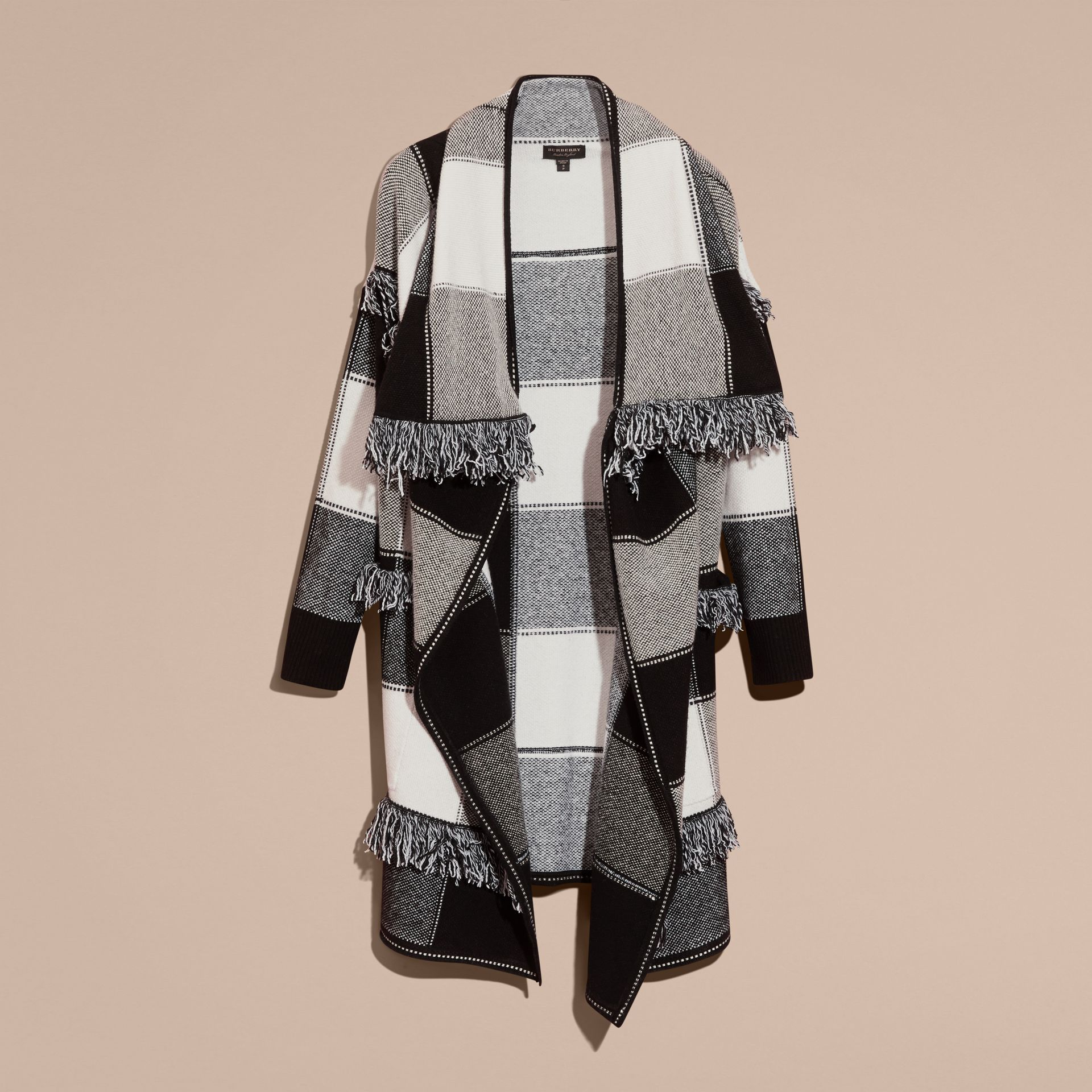 Black/white Check Wool Cashmere Knit Coat - gallery image 4