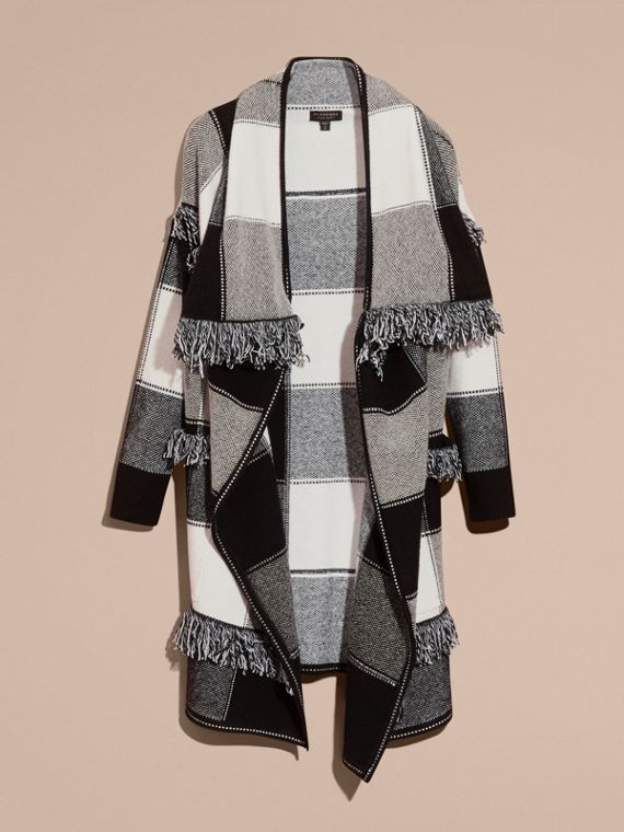 Black/white Check Wool Cashmere Knit Coat - cell image 3