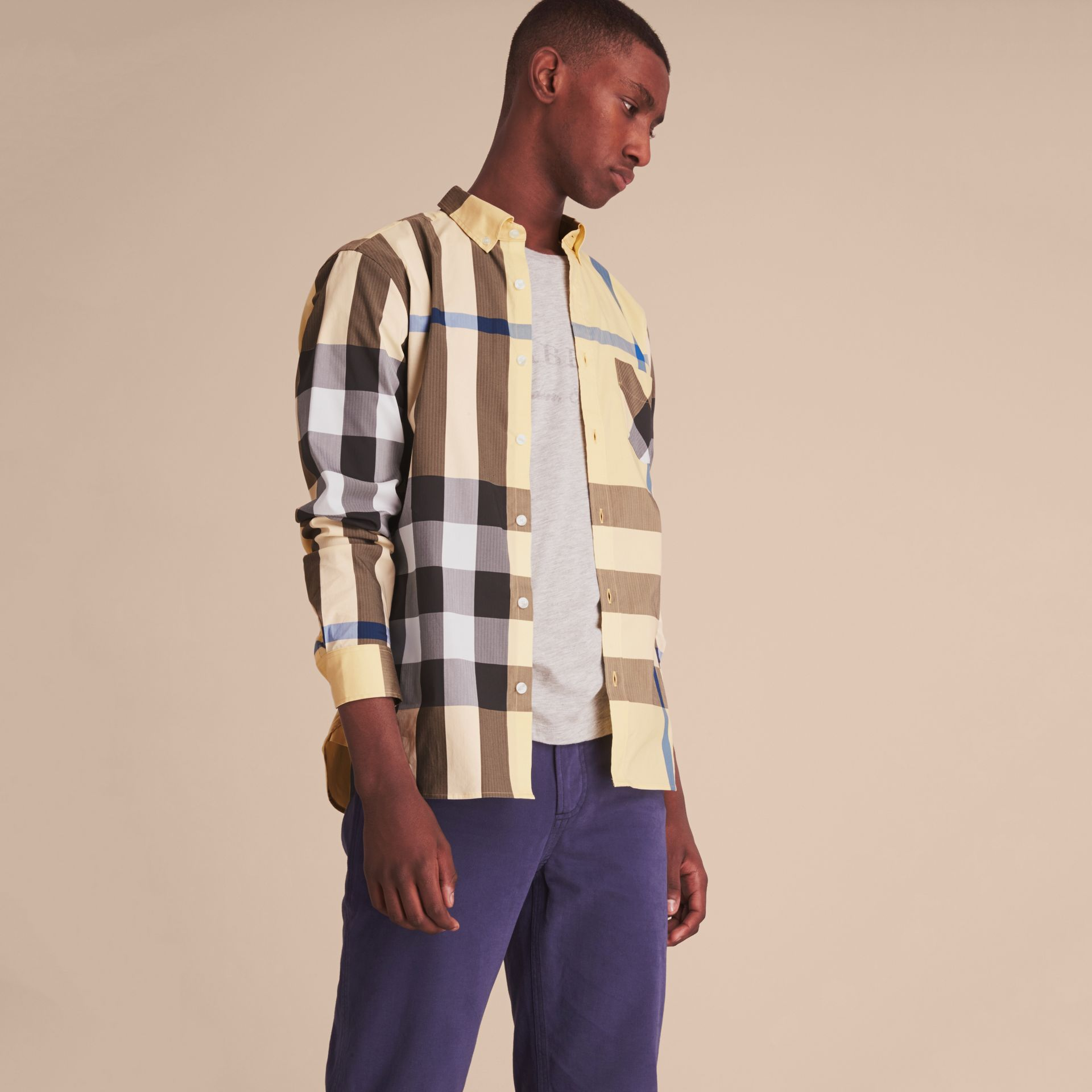 Button-down Collar Check Stretch Cotton Blend Shirt in Pale Yellow - Men | Burberry Singapore - gallery image 6