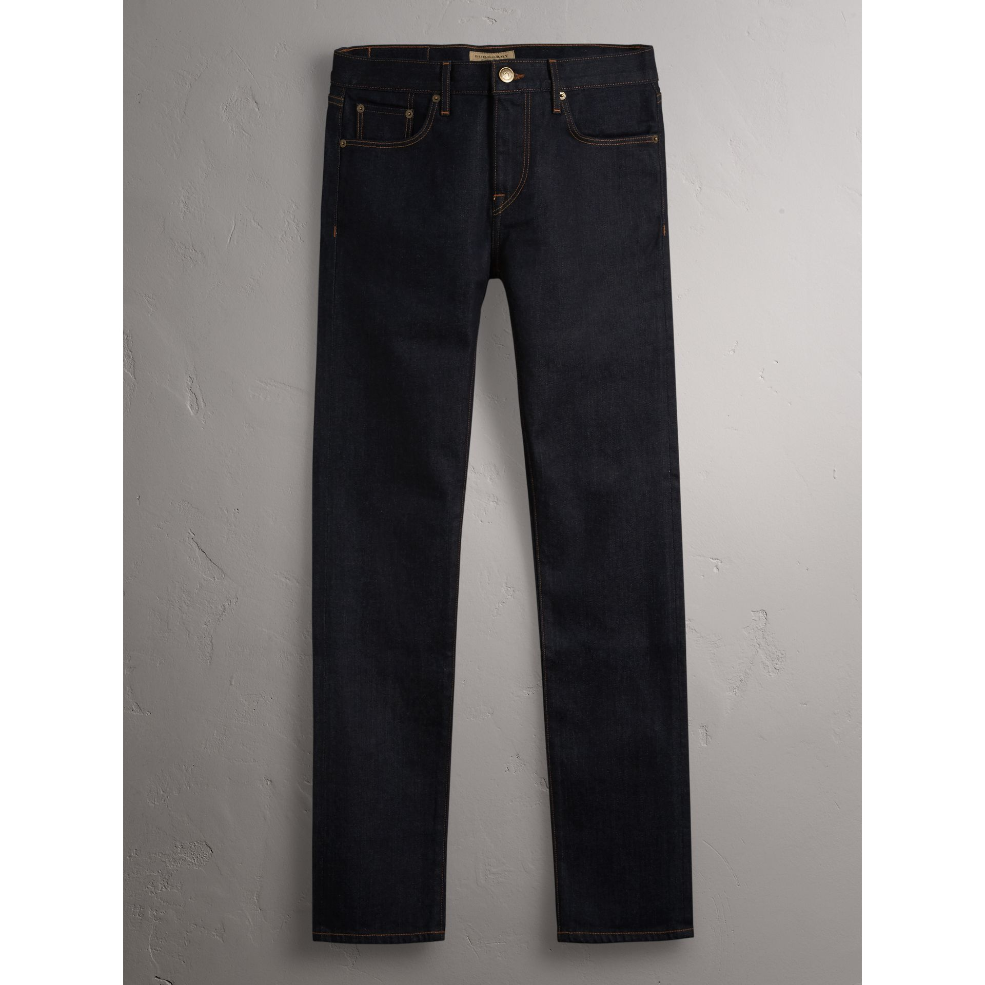 Slim Fit Stretch Japanese Selvedge Denim Jeans in Dark Indigo - Men | Burberry Canada - gallery image 4