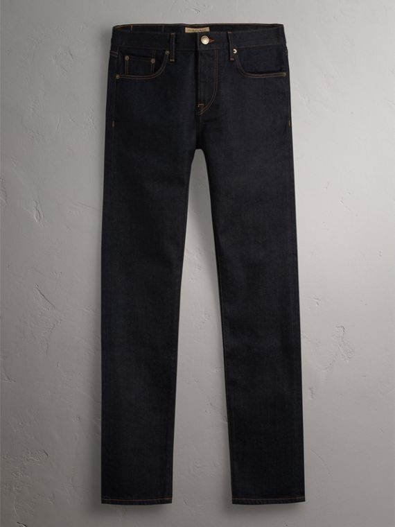 Slim Fit Stretch Japanese Selvedge Denim Jeans in Dark Indigo - Men | Burberry Canada - cell image 3