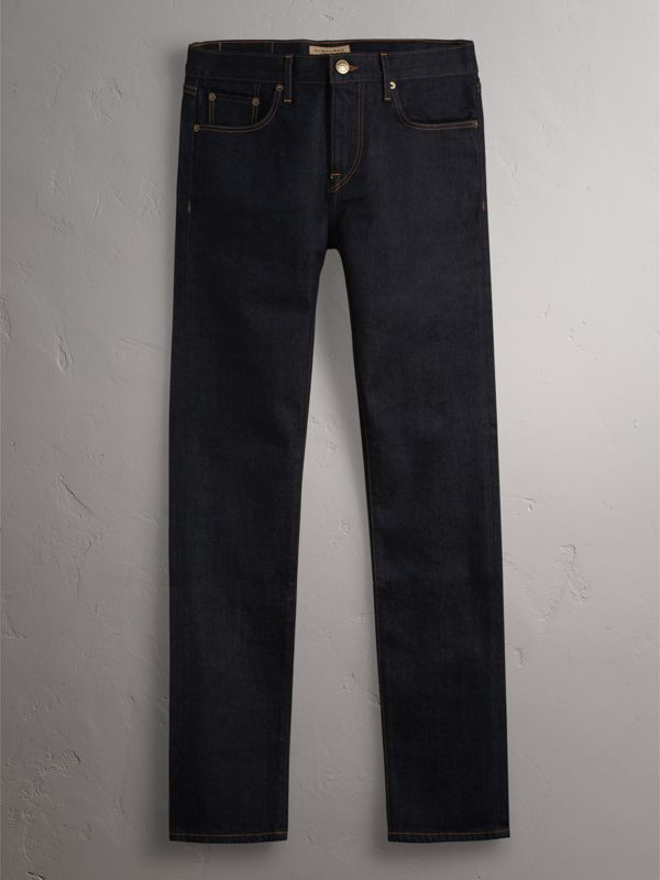 Slim Fit Stretch Japanese Selvedge Denim Jeans in Dark Indigo - Men | Burberry - cell image 3