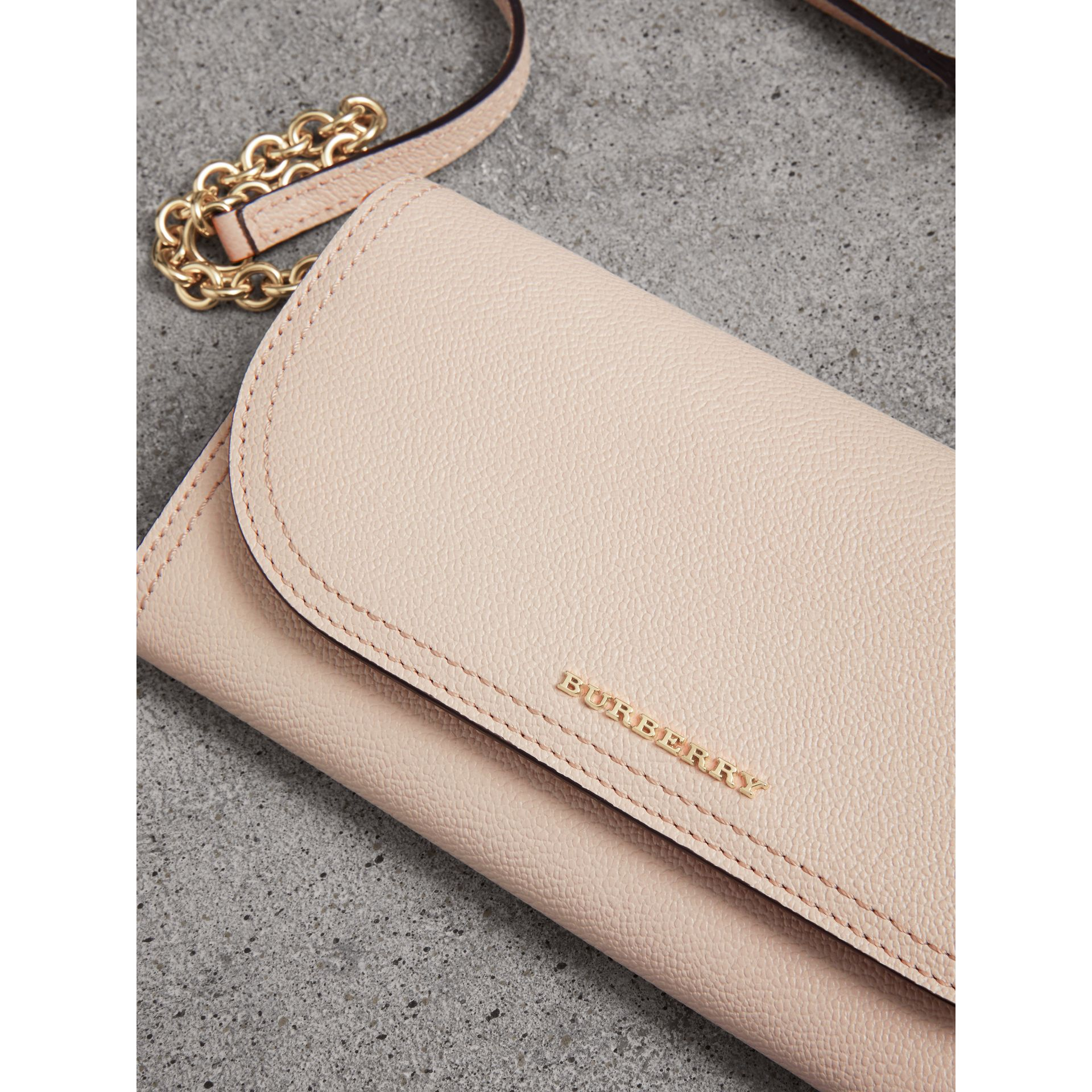 Leather Wallet with Chain in Limestone - Women | Burberry Singapore - gallery image 1