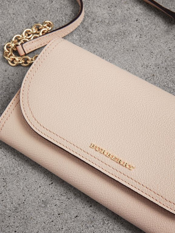 Leather Wallet with Chain in Limestone - Women | Burberry - cell image 1
