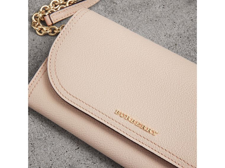 Leather Wallet with Chain in Limestone - Women | Burberry Singapore - cell image 1