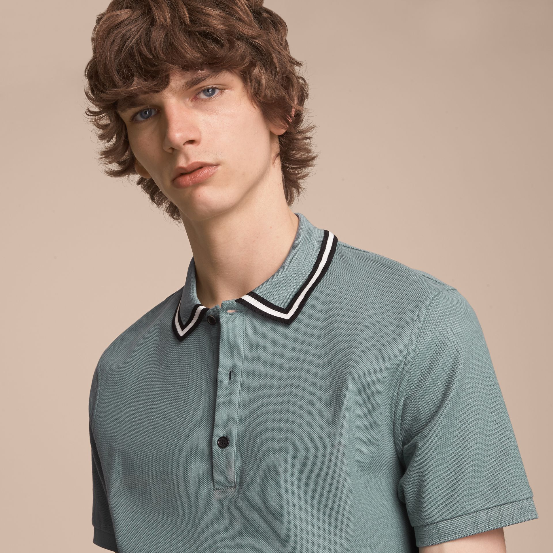 Striped Collar Cotton Piqué Polo Shirt in Pale Teal Blue - gallery image 5
