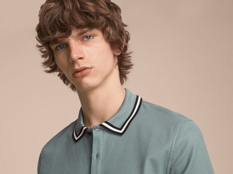 Striped Collar Cotton Piqué Polo Shirt in Pale Teal Blue - cell image 4