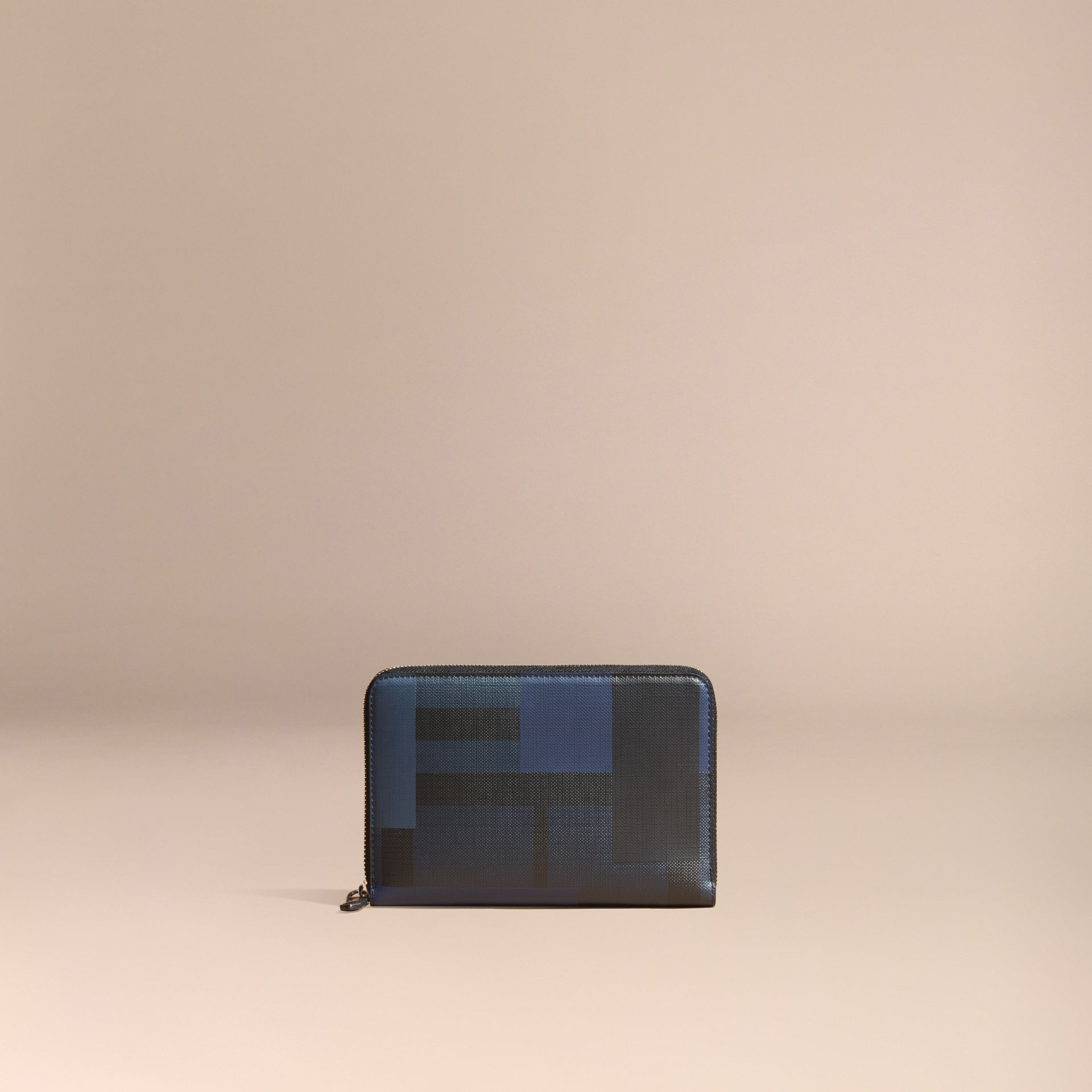 Navy/geometric Colour Block and London Check Ziparound Wallet - gallery image 6