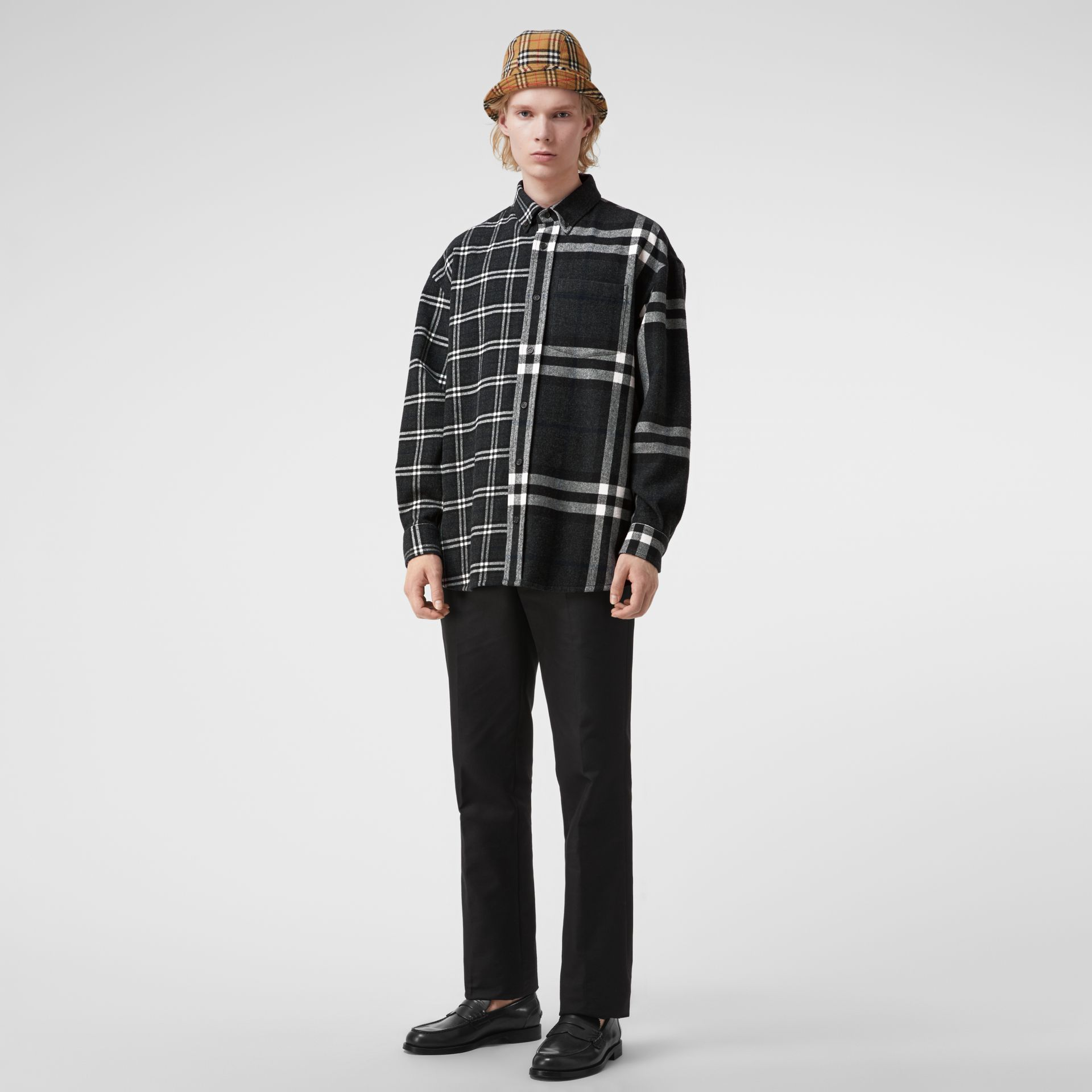 Gosha x Burberry Check Flannel Shirt in Charcoal | Burberry United States - gallery image 0