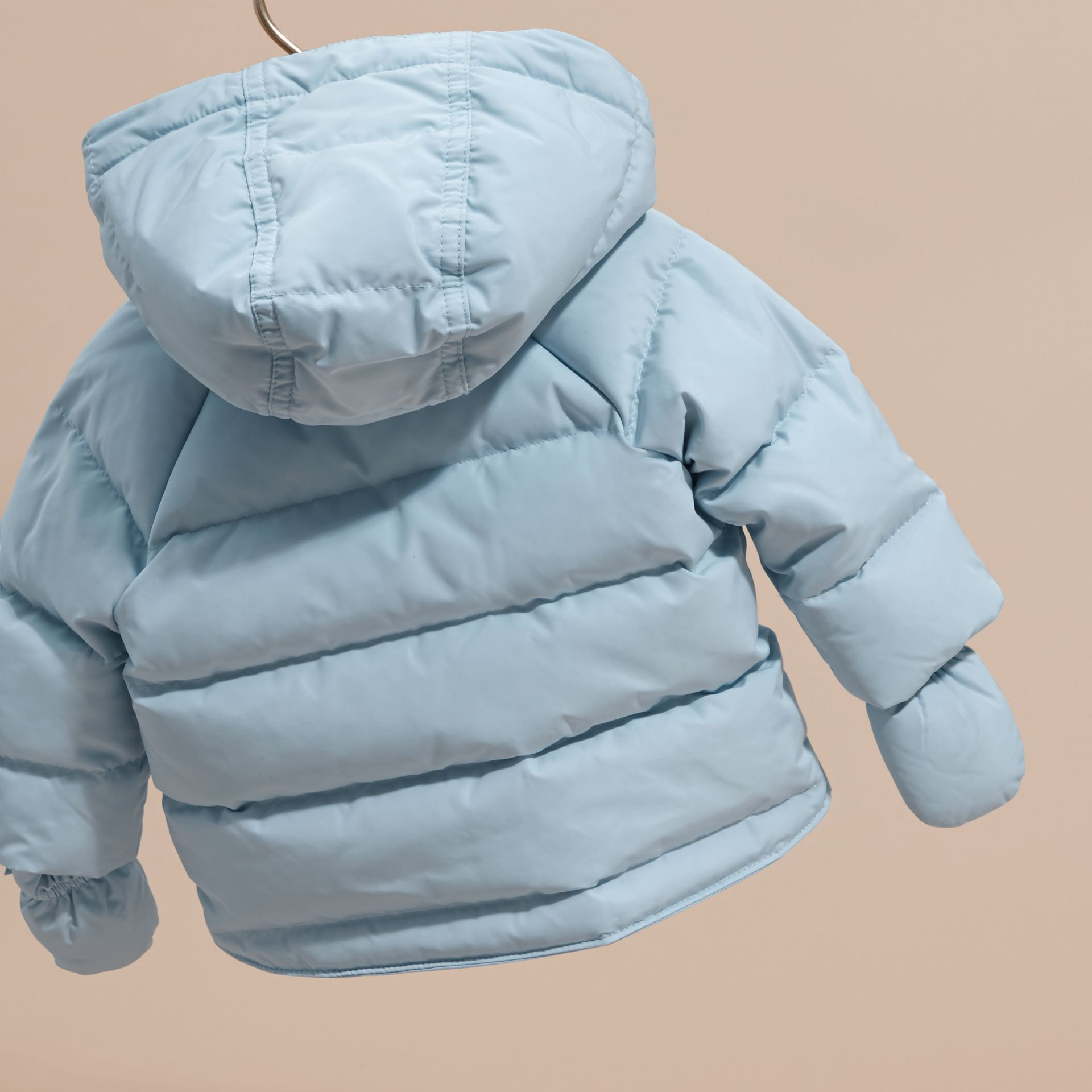 Hooded Down-filled Puffer Jacket with Mittens Ice Blue - gallery image 4