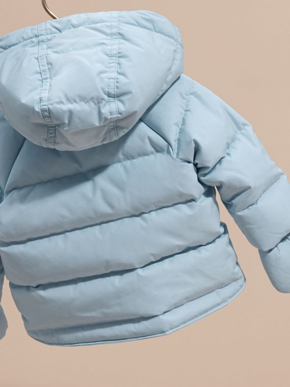 Hooded Down-filled Puffer Jacket with Mittens Ice Blue - cell image 3