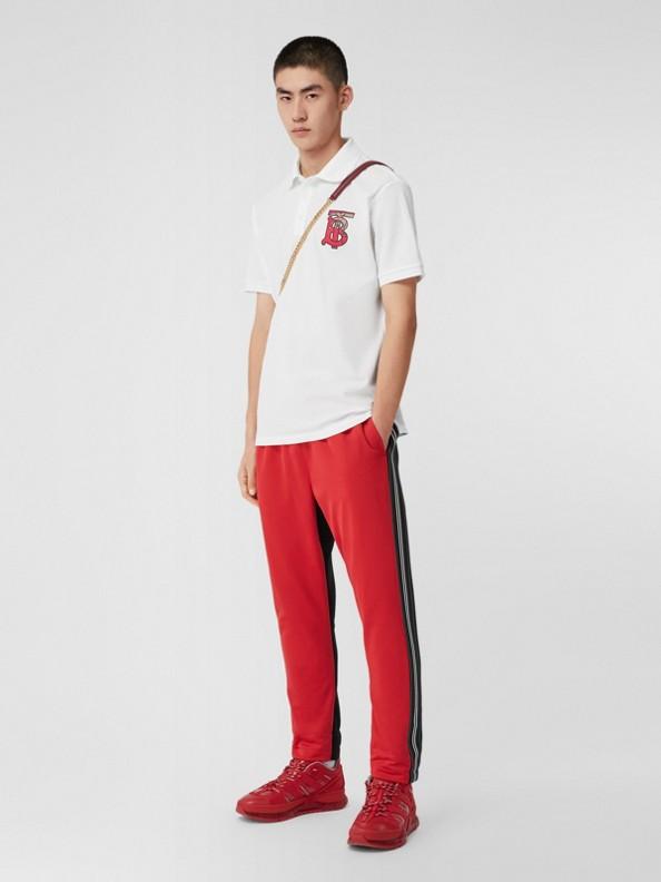 Camisa polo oversize de algodão piquê com estampa de monograma (Branco)