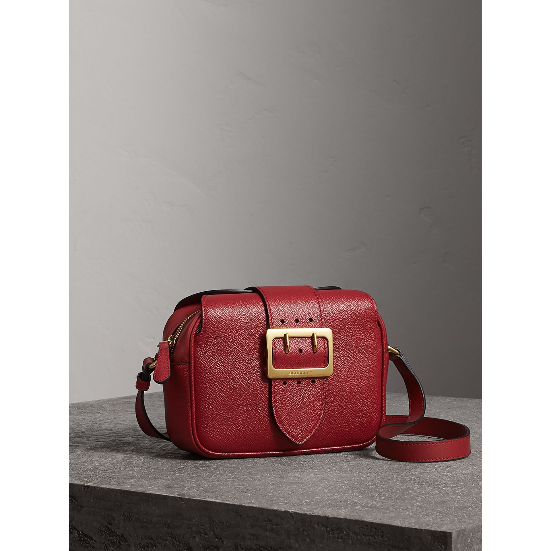 The Small Buckle Crossbody Bag in Leather in Parade Red - Women | Burberry - gallery image 5