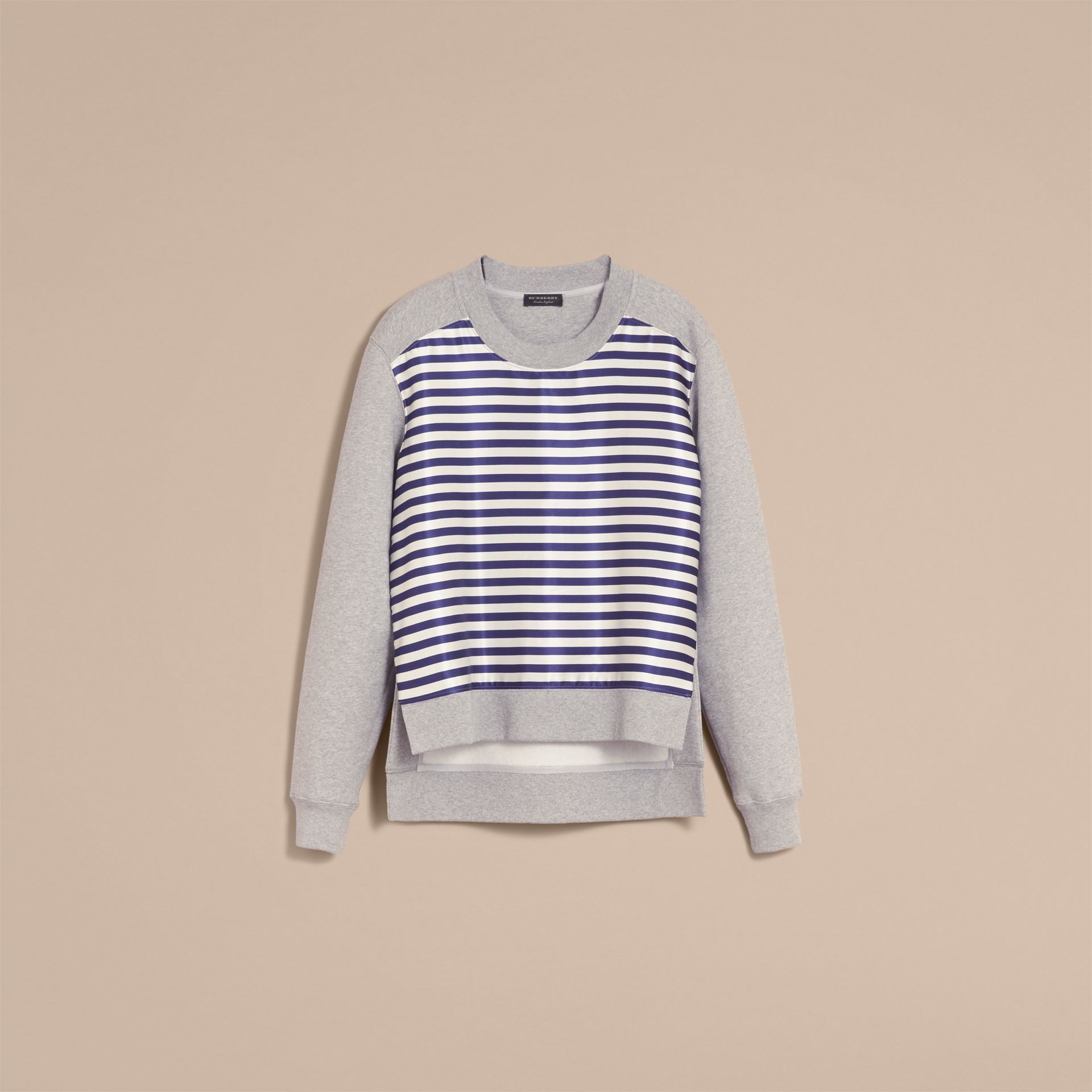 Unisex Striped Silk Cotton Panel Sweatshirt - Women | Burberry - gallery image 4