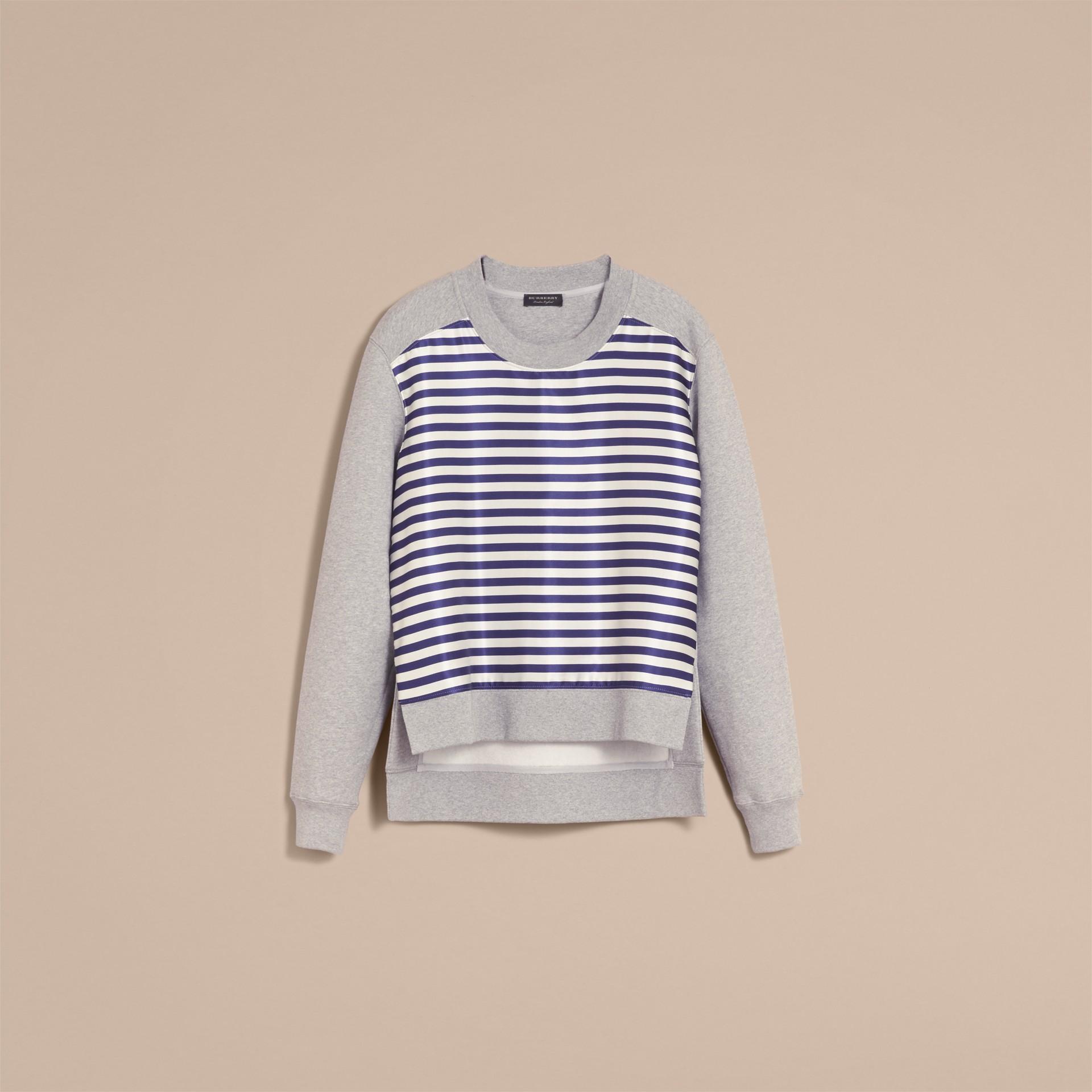 Unisex-Sweatshirt mit Streifenpanel aus Baumwollseide (Grau Meliert) - Damen | Burberry - Galerie-Bild 4