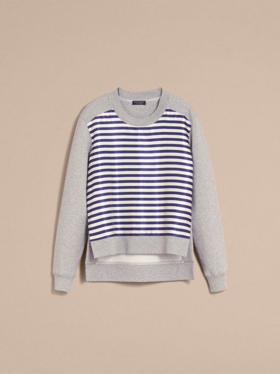 Unisex Striped Silk Cotton Panel Sweatshirt in Grey Melange - Women | Burberry Canada - cell image 3