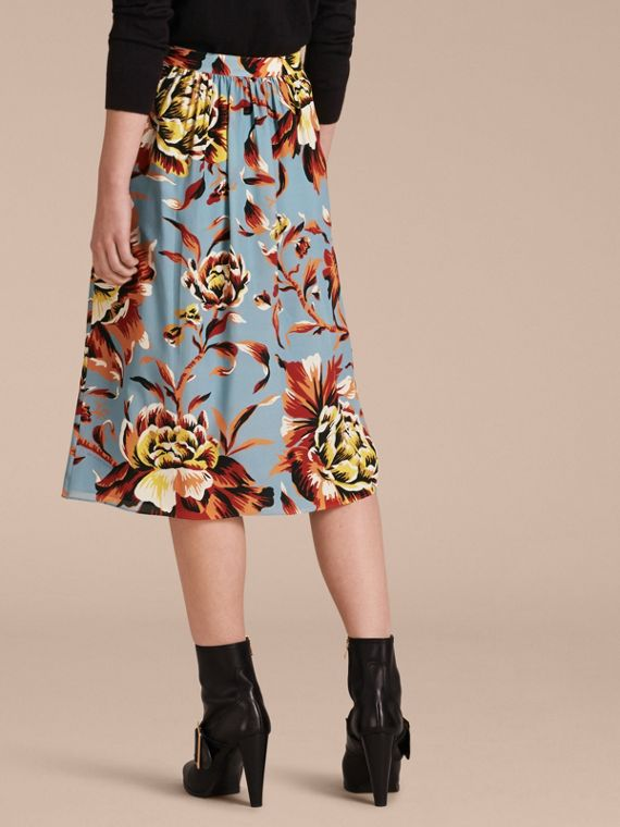 Vibrant orange Peony Rose Print Silk Skirt - cell image 2