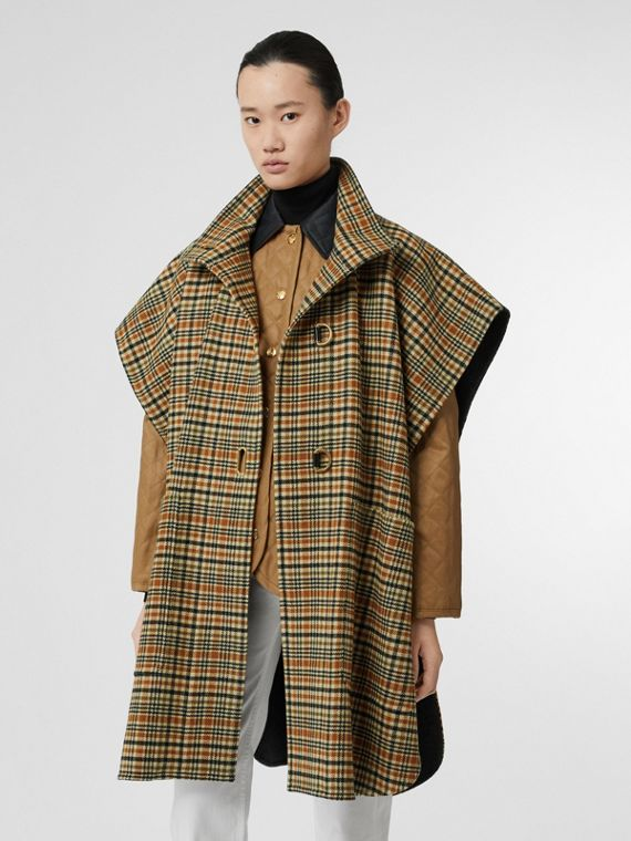 D-ring Detail Check Wool Cashmere Cape in Stone Yellow