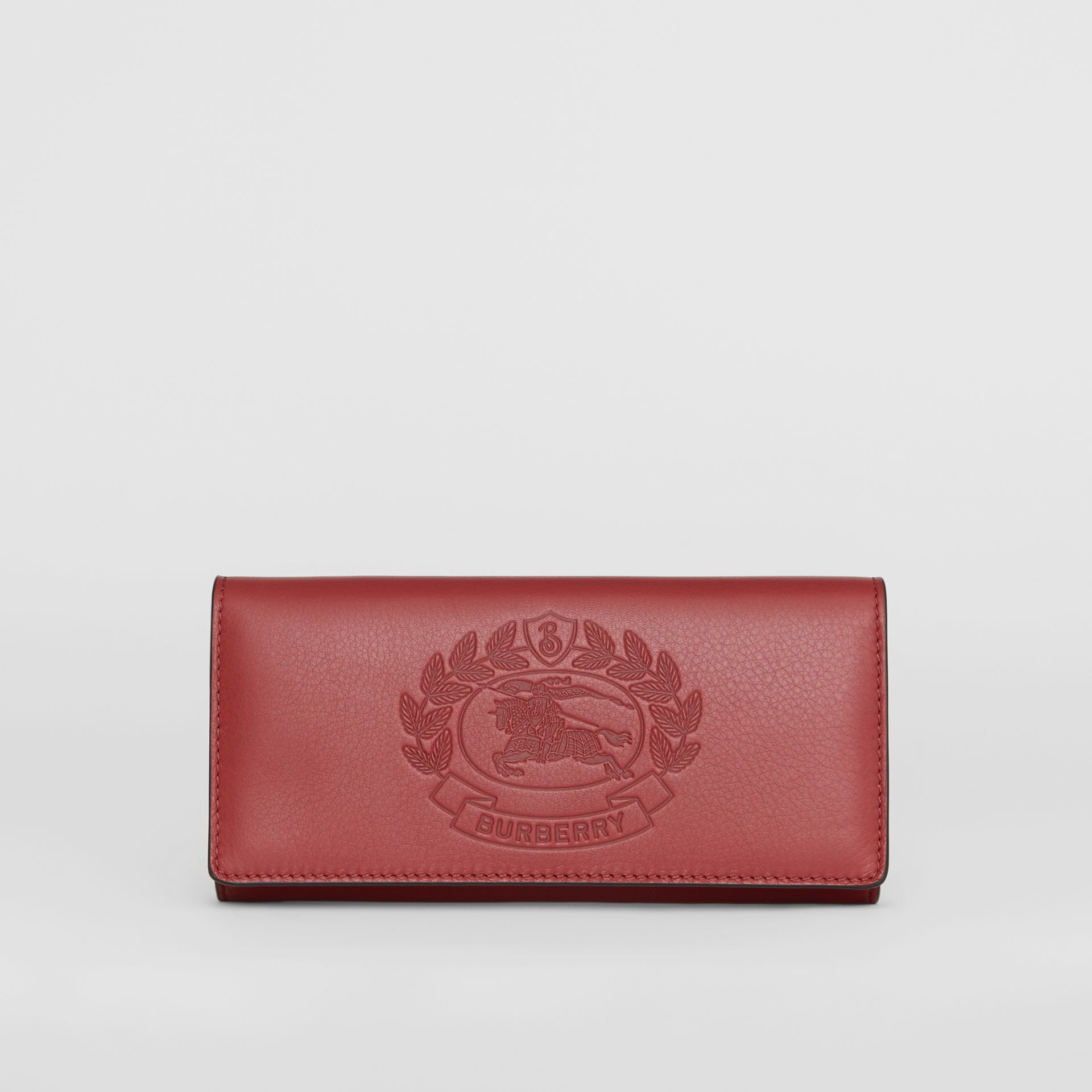 Embossed Crest Two-tone Leather Continental Wallet in Crimson - Women | Burberry Australia - gallery image 0