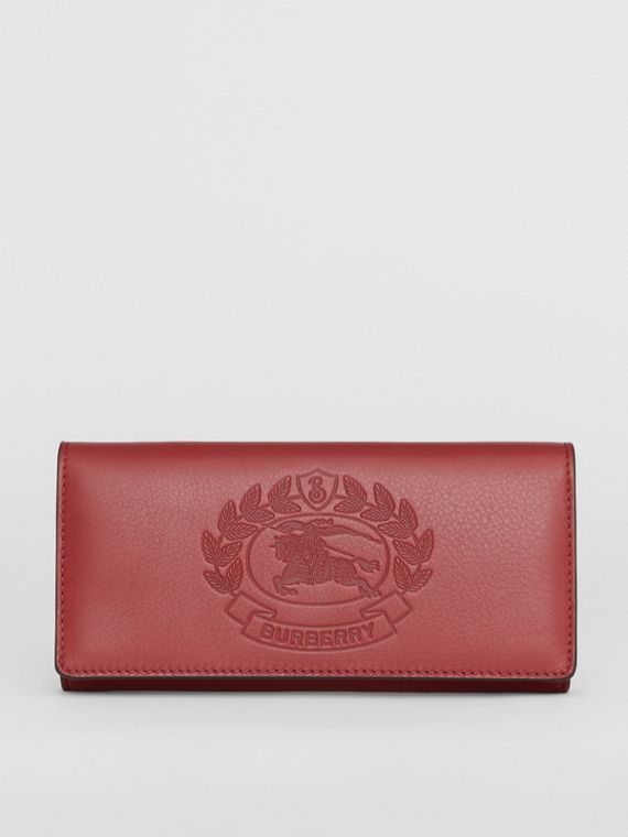 Embossed Crest Two-tone Leather Continental Wallet in Crimson