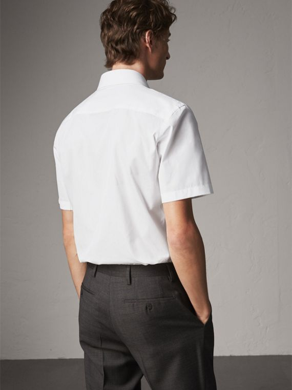 Modern Fit Short-sleeved Cotton Poplin Shirt in White - Men | Burberry Australia - cell image 2