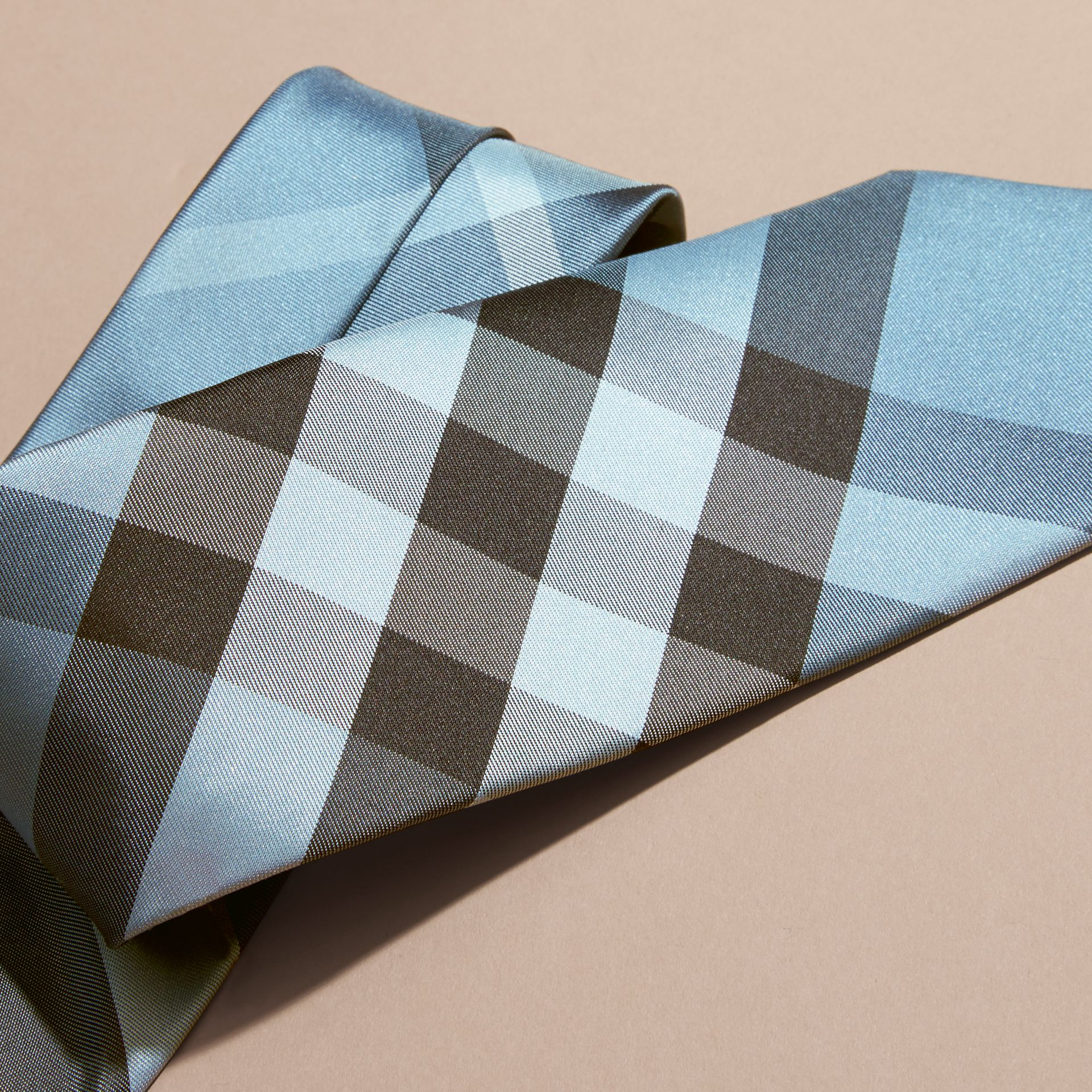 Light blue Modern Cut Check Silk Tie Light Blue - gallery image 2