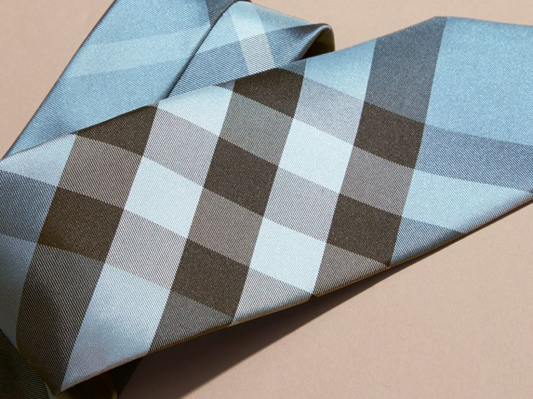 Light blue Modern Cut Check Silk Tie Light Blue - cell image 1