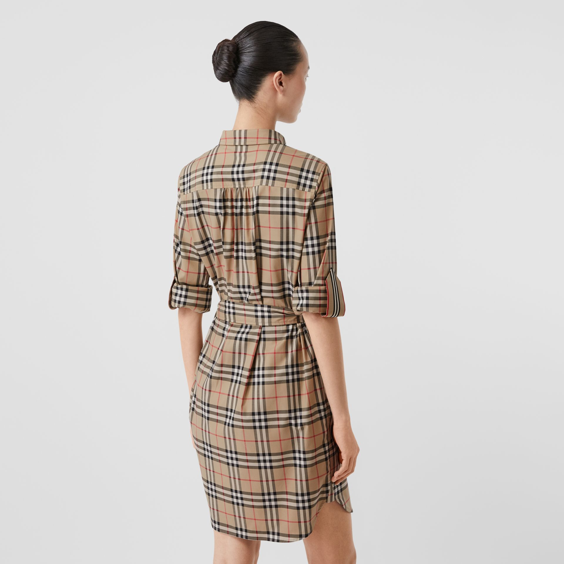 Vintage Check Stretch Cotton Tie-waist Shirt Dress in Archive Beige - Women | Burberry - gallery image 2