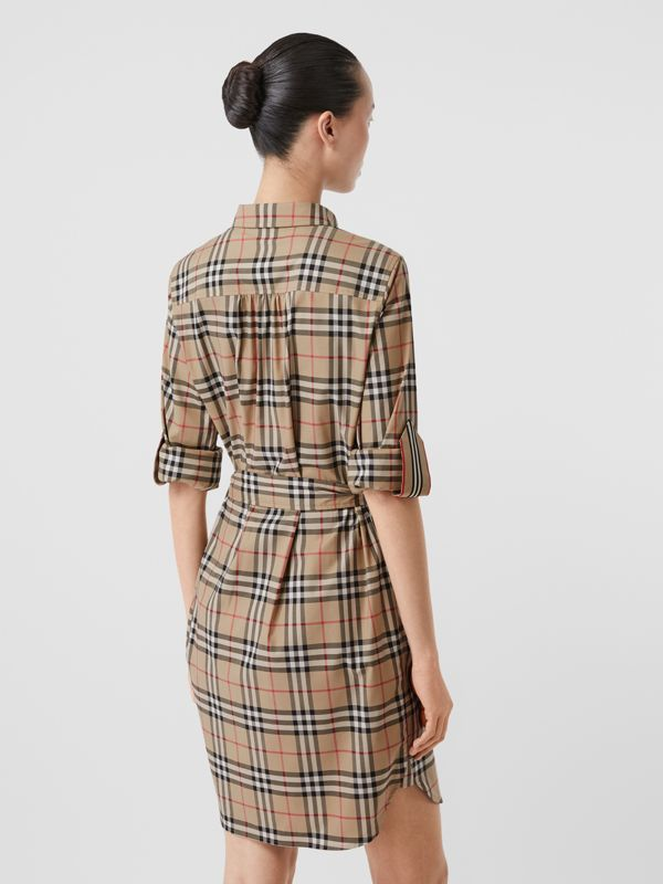 Vintage Check Stretch Cotton Tie-waist Shirt Dress in Archive Beige - Women | Burberry - cell image 2
