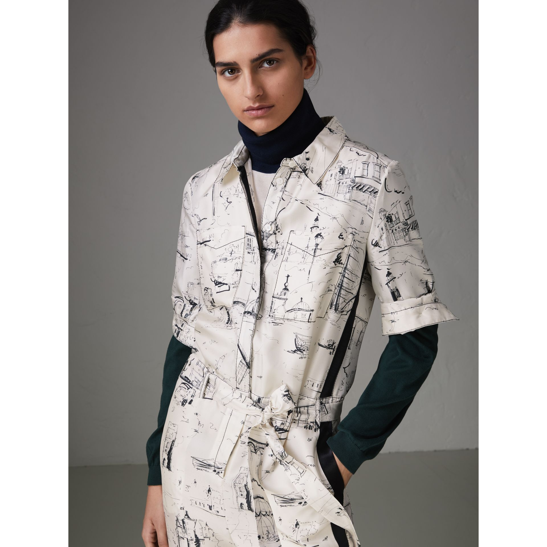 Landmark Print Silk Jumpsuit in Off White/black - Women | Burberry - gallery image 1
