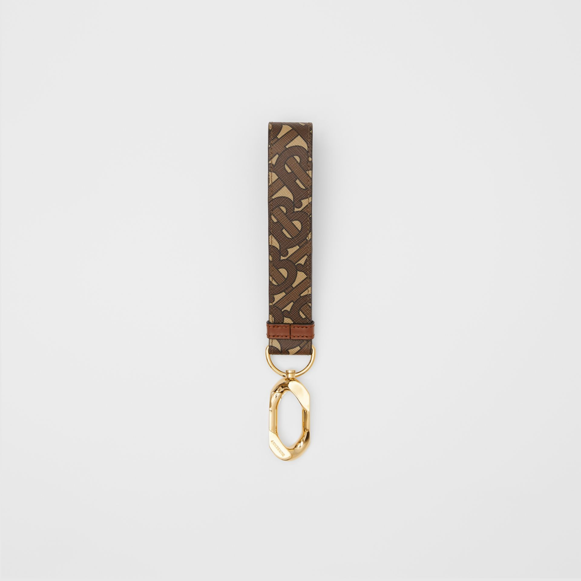 Monogram Print E-canvas Charm in Bridle Brown - Women | Burberry - gallery image 0