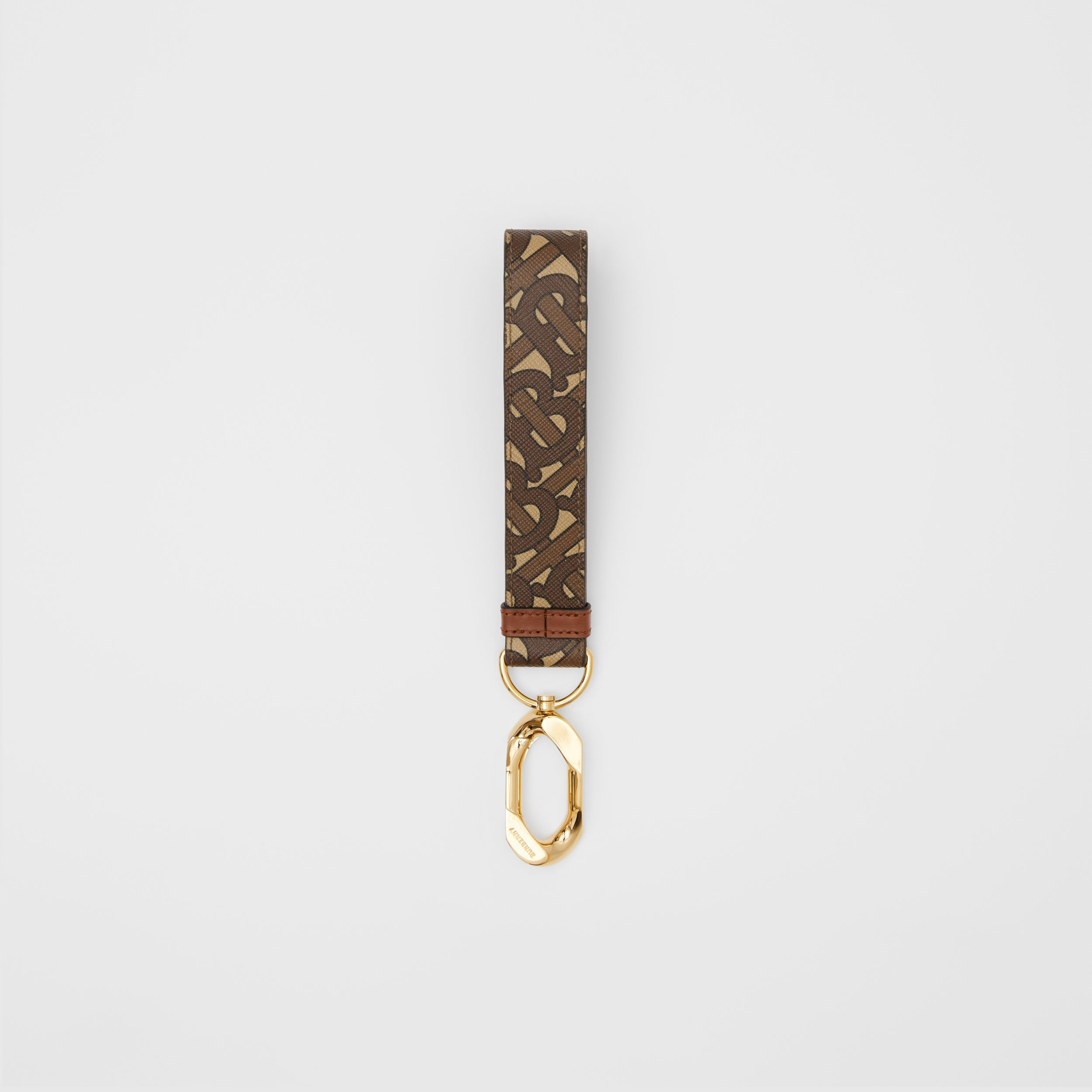Monogram Print E-canvas Charm in Bridle Brown - Women | Burberry - 1