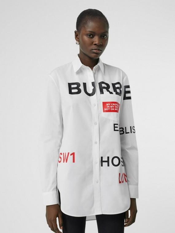 Camisa oversize de algodão com estampa Horseferry (Branco)