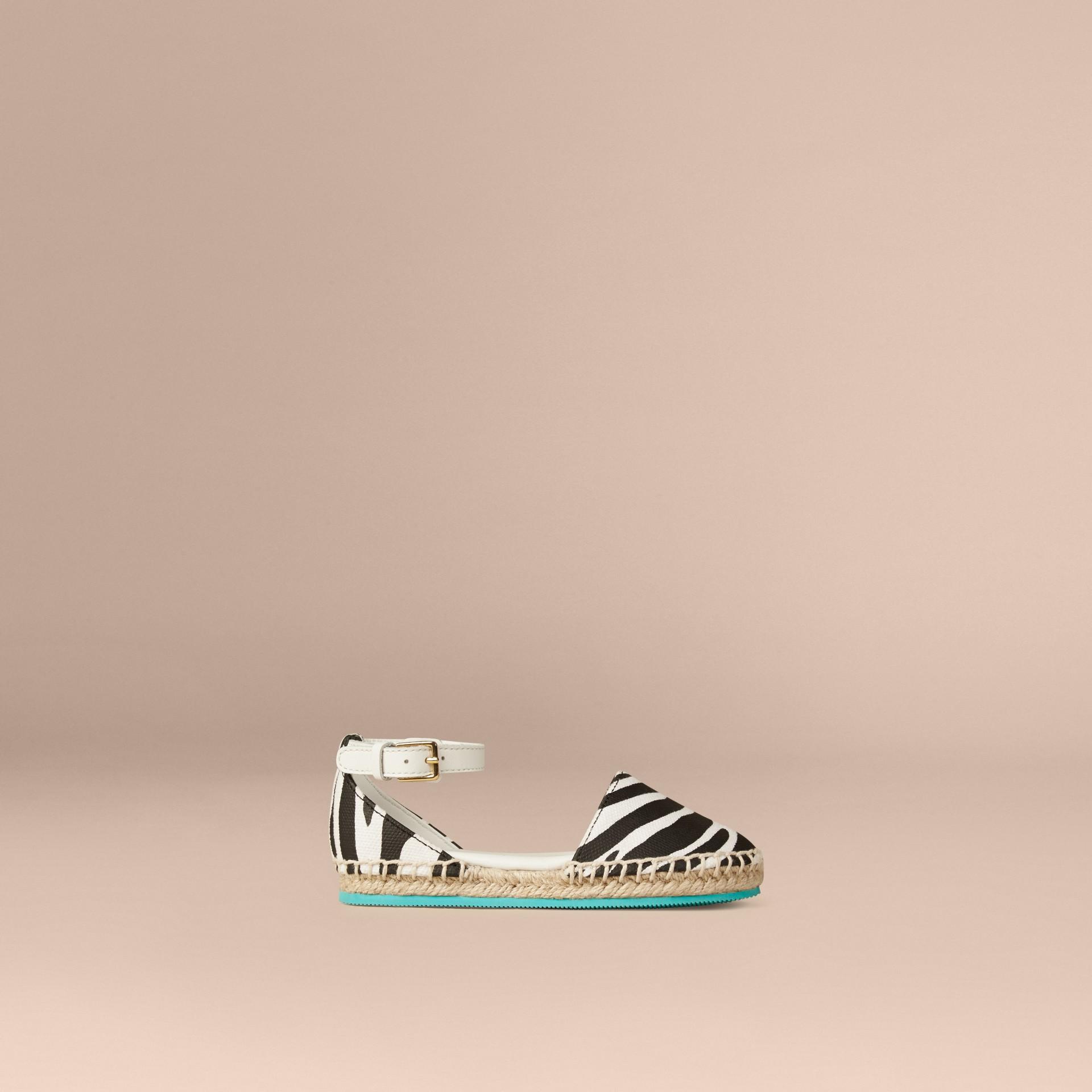 Black / white Zebra Print Espadrille Sandals - gallery image 1