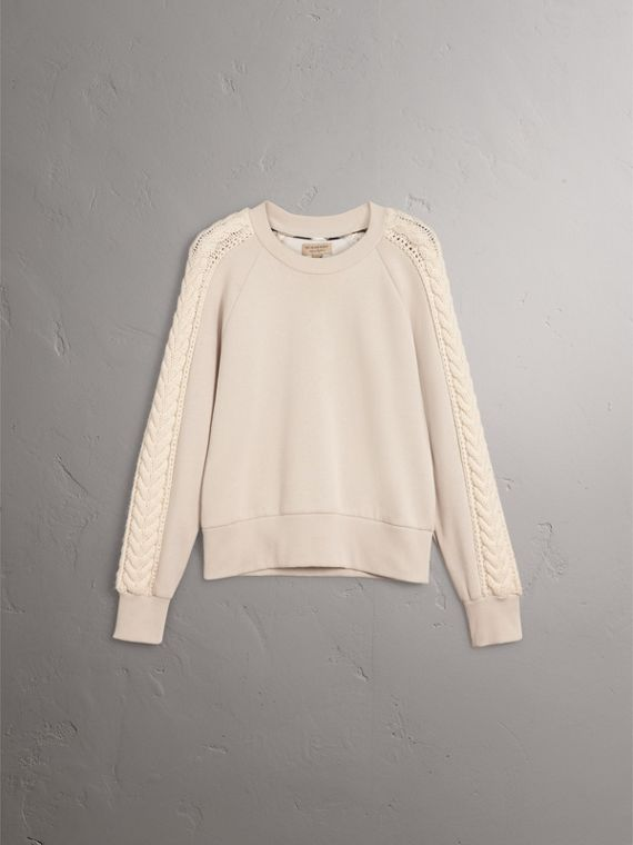 Cable Knit Wool Cashmere Panel Sweatshirt in Winter White - Women | Burberry Singapore - cell image 3