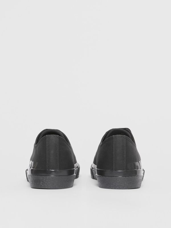 Logo Print Cotton Gabardine Sneakers in Black | Burberry - cell image 3