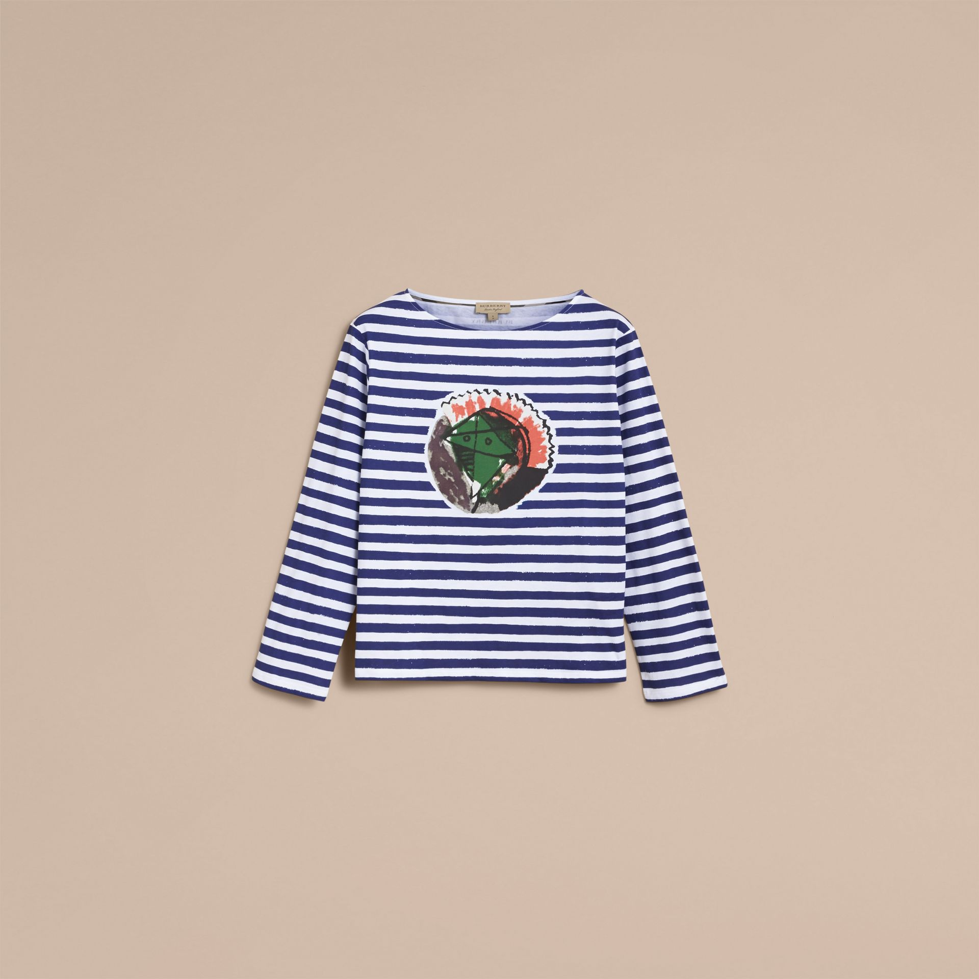 Pallas Heads Print Breton Stripe Jersey Top in Ink Blue/white - Women | Burberry - gallery image 4