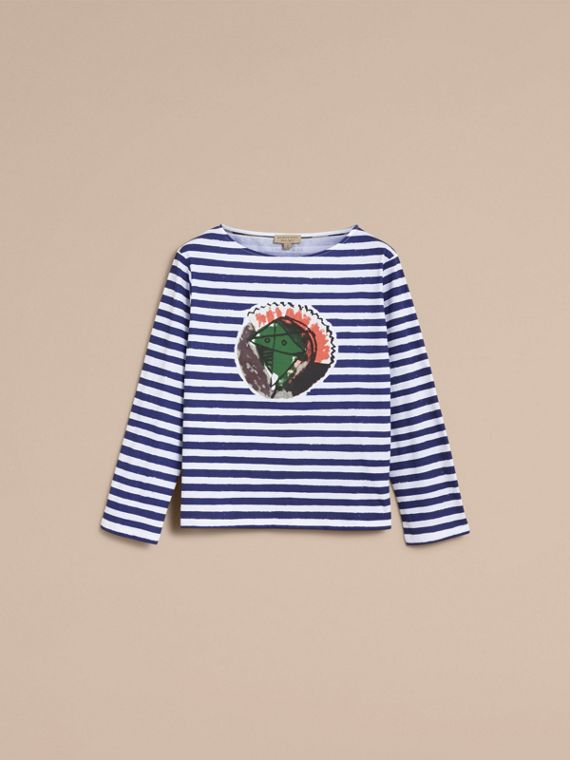 Pallas Heads Print Breton Stripe Jersey Top in Ink Blue/white - Women | Burberry - cell image 3