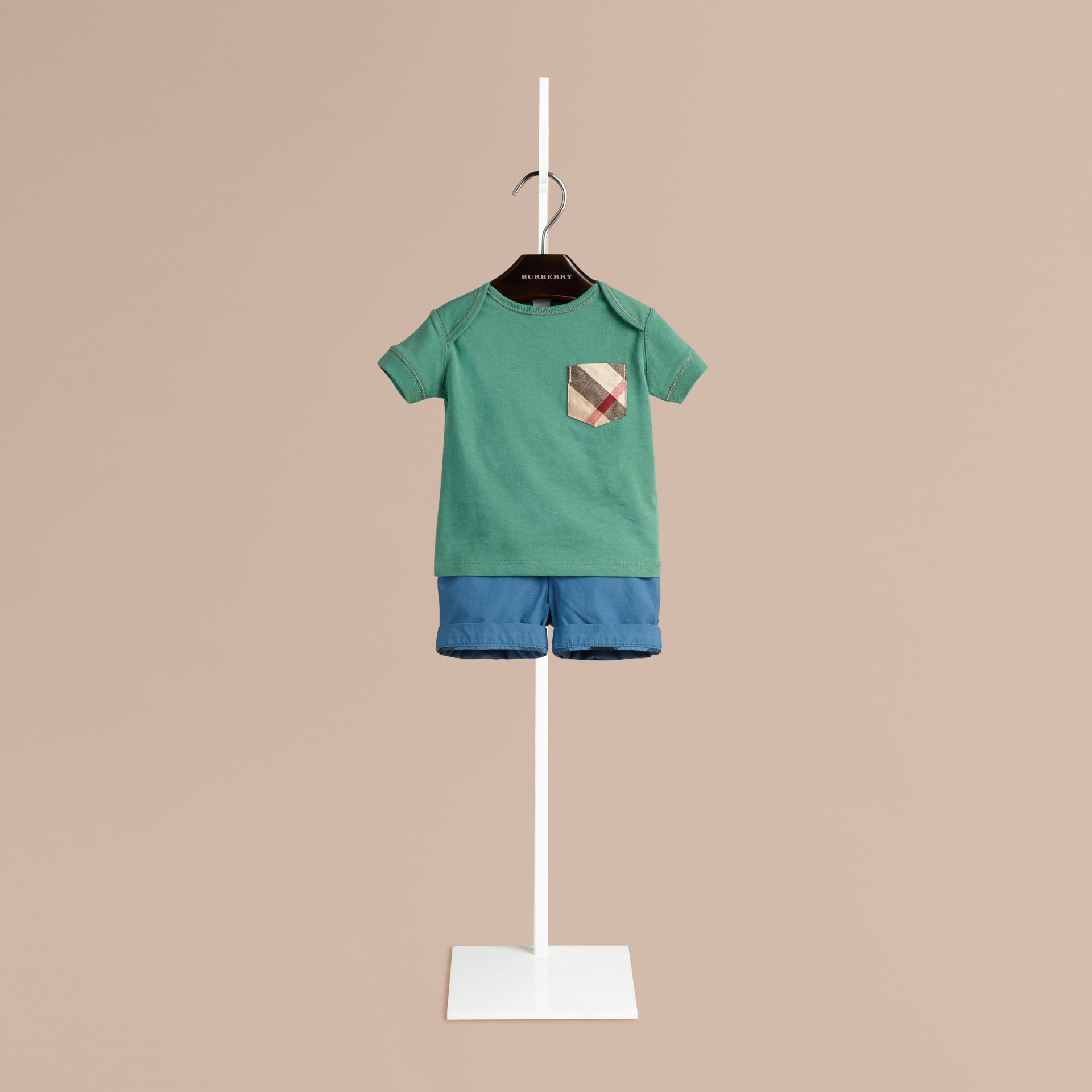 Storm green Check Pocket T-Shirt Storm Green - gallery image 1