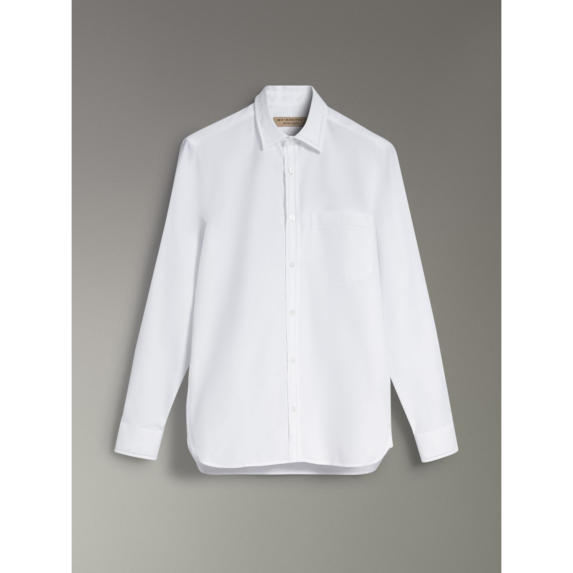 Open-stitch Detail Cotton Oxford Shirt in White - Men | Burberry - gallery image 3