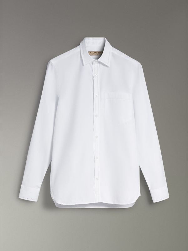 Open-stitch Detail Cotton Oxford Shirt in White - Men | Burberry - cell image 3
