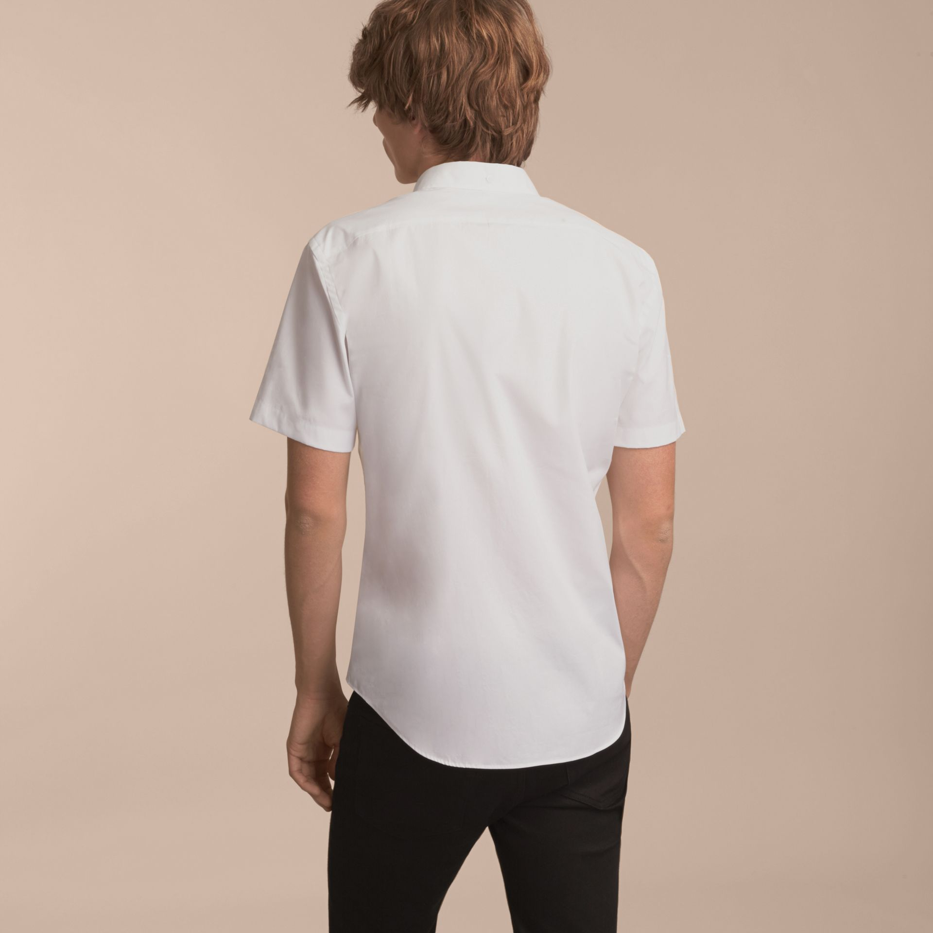 Short-sleeved Stretch Cotton Poplin Shirt White - gallery image 3