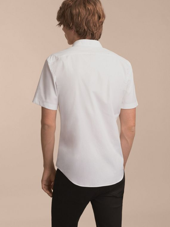 White Short-sleeved Stretch Cotton Poplin Shirt White - cell image 2