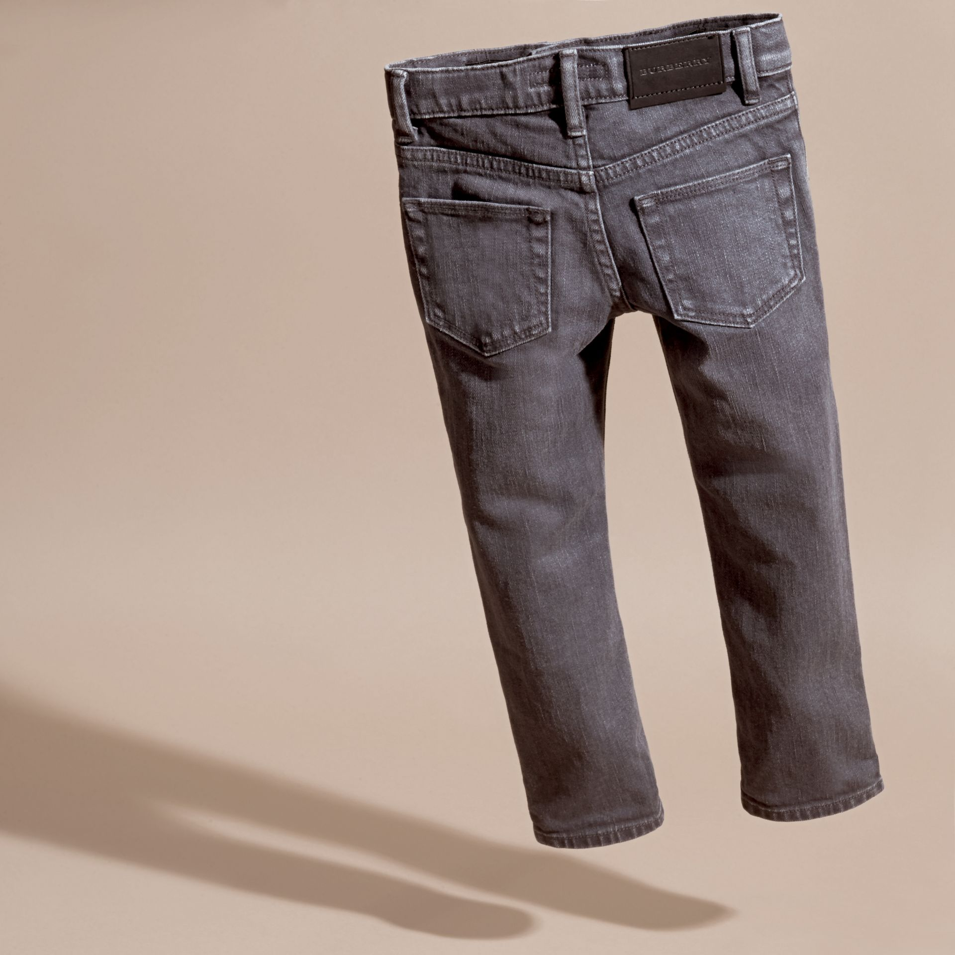 Skinny Fit Stretch Denim Jeans in Charcoal - Boy | Burberry - gallery image 4
